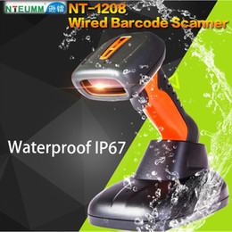 Wholesale Portable Barcode Readers - Wholesale- Free Shipping!NTEUMM NT-1208 Laser Wired Barcode Scanner USB Waterproof Barcode Reader Portable Handy 1D Barcode Scanner W Stand