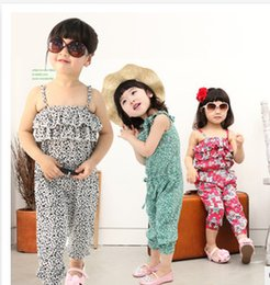 Wholesale Casual Blouse One - Hot Children Beach dress baby girl one piece romper summer baby clothes set floral kids infant blouse girls Casual wear A4912