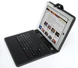 Custodia in pelle nera con interfaccia USB Tastiera per 10 MID Tablet PC dhl / fedex spedizione gratuita supplier fedex free tablet da compressa senza fedex fornitori