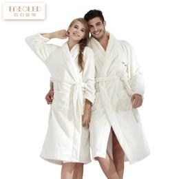 Wholesale Fleece Lounge - New Men's and Women's Lovers thickening flannel robe male coral fleece bathrobe plus size lengthen lounge sleepwear