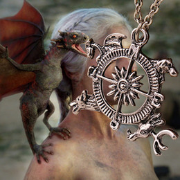 Wholesale Movie Theme - 2016 Movie Jewelry Song Of Ice And Fire Power Game Inspired Crest Pendant Necklace Game Introduces The Theme Of The Compass ZJ-0903091