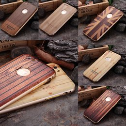 Wholesale Wood Iphone Bumper - For iphone 6 6s plus 2in1 3D Wooden Pattern Metal Aluminum Bumper Wood Hard Case Cover For iphone6 6Plus