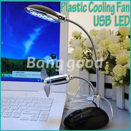 Wholesale Cool Led Desktop Light - Free Shipping Black 2 in 1 USB Powered 13 LED Table Desk Flexible Light Lamp With Cooler Cooling Fan For Laptop Desktop Notebook