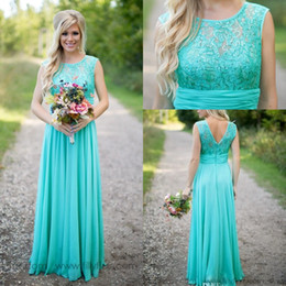 Wholesale Royal Mint Silver - 2017 Cheap Country Turquoise Mint Bridesmaid Dresses Illusion Neck Lace Beaded Top Chiffon Long Plus Size Maid of Honor Wedding Party Dress
