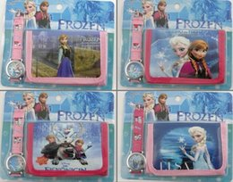 Wholesale New Cute Girls Fashion Set - Frozen Anna Elsa Sets Watch and Wallet 2 in 1 Purse Kids Fashion Quartz Cartoon Candy Cute Lovely Boy Girl Children Watch