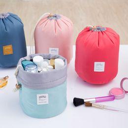 Wholesale Drum Shape - Barrel Shaped Travel Cosmetic Bag Nylon High Capacity Drawstring Elegant Drum Wash Bags Makeup Organizer Multi Function Storage Bag A026