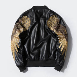 Wholesale Sleeveless Leather Jacket Mens - Brand Clothing Embroidery Baseball Spring Loose Coat Tide MA1 PU Leather biker Jacket Male hoodies mens winter jackets men