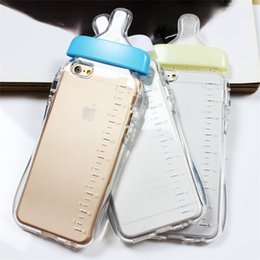 Wholesale Transparent Milk Fittings - Transparent Cute Cartoon Baby Nipple Milk Bottle Mobile Phone Case LiftingRope for Iphone 5 5S 6 6PLUS Clear TPU Phone Back Cover