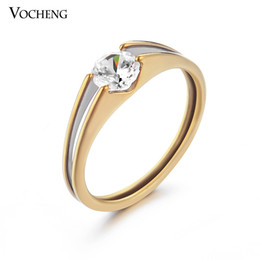 Wholesale Mix 18k White Gold - VOCHENG Mix Sizes Gold or Silver Plated Simple Design Bridal Sets Cubic Zirconia Ring Stainless Steel Ring VR-093