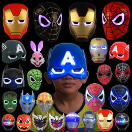 2019 decoraciones de fiesta de la mascarada blanca negra LED que brilla la máscara de los niños del superhéroe Spiderman Iron Man Hulk que la máscara de la película de dibujos animados del partido de Batman para el día del niño Cosplay