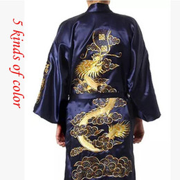 Wholesale Purple Satin Robes - Wholesale-2015 Silk Dragon Robes Chinese Men's Silk Satin Robe Embroider Kimono Bath bathrobe Men Dressing Gown For Men Summer Sleepwear