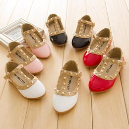 Wholesale Kids Retail Shoes - Retail New Fashion Girl Kids Rivet Dancing Shoes Casual Beach SHoes Princess Shoes PU Leather School Shoes Choose Size Size 21-36 ZJ-S05
