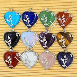 Wholesale Mixed Natural Stone Necklaces - Natural Gem Stone Heart Silver Plated Rose Flower Reiki Pendant Charms Amulet Classic Jewelry Women Gift 12pcs Mix Order