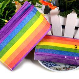 Wholesale wholesale paper napkins - Color Rainbow Paper Napkin Tissue 3 Layers Folding Handkerchiefs Towel Wedding Party Gift Favors Online SD901