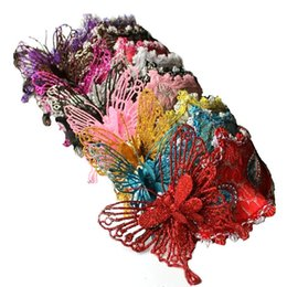 Wholesale Butterfly Masquerades Masks - Halloween Masquerade half face mask Venetian mask powder princess lace butterfly mask 6 colors free shipping wen4649