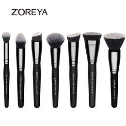 Wholesale Brush Zoreya - Zoreya Brand 7pieces  Lot Black Makeup Brushes Set For Women Cosmetic Tool Nylon Hair Brushes Wood Handle Professional Brushes