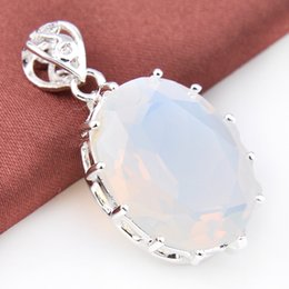Wholesale Necklace Moonstone - Ruby Jewelry Top Quality Luckyshine 2pcs Lot Classic Drop Multi-colored Moonstone Gemstone 925 Silver Pendant American Weddings Jewelry Gift