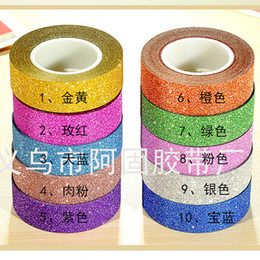 Wholesale Craft Masks Wholesale - Hot sales 10M Glitter Washi Sticky Paper Masking Adhesive Tape Label Craft Decorative DIY Free Shipping