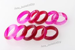Wholesale Solid Agate Band Ring - New Beautiful Smooth Roseo Round Solid Jade Agate Gem Stone Band Rings 6 MM - Great Value 20pcs lots