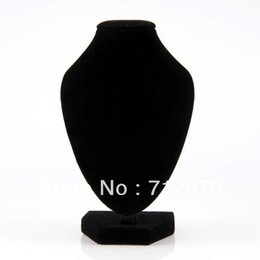 Wholesale Necklace Bust Stand - 5Pieces Lot Free Shipping Black Velvet Necklace Pendant Chain Link Jewelry Bust Neck Display Holder Stand