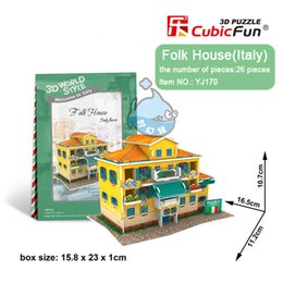 Wholesale Paper Toy Puzzle 3d - Wholesale-[Grace Shop] MINI CubicFun 3D Puzzle toy Italy Building 3D paper model,Learn & Educational DIY Toys Can be as Gifts Crafts