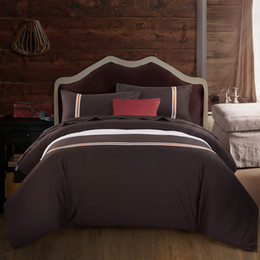 Wholesale Coffe Sets - Wholesale-100% Cotton Bedding Sets Coffe Solid Printed 4pcs Queen King Size Duvet Cover Bed Sheet Pillow cases