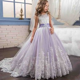 Wholesale Kids Royal Ball Party Dress - 2018 Lovely Lalic Flower Girl Dresses Ball Gown Beaded Appliques Girls Pageant Dress Lace Up Kids Communion Wedding Party Gown