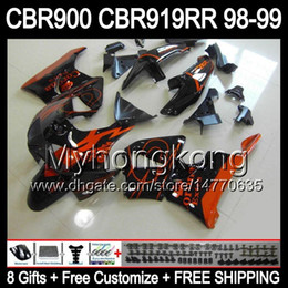 Wholesale Honda Rr - 8Gifts For HONDA Orange CORONA CBR919RR 98-99 CBR900 CBR919 RR 98 99 Y6664 CBR900RR CBR 919RR Orange blk 919 RR 1998 1999 Fairing+Customize