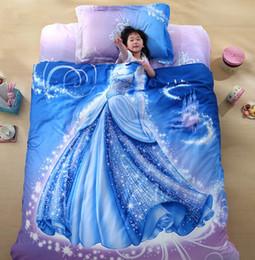 Wholesale Black Silk Comforter Sets - Wholesale-Promotions Organic Cotton Cool Designer 3D Bed Linen Cinderella Kids Bedding Set 3D Comforter Set Girls Anime Bed Sheets Cute B