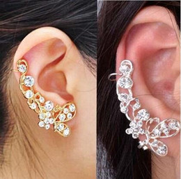 Wholesale Indian Ear Cuff Wrap - Retro Crystal Butterfly Flower Ear Cuff Stud Earring Wrap Clip On Clip Clamp New