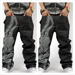 Wholesale Relaxing Lights - American brand discount loose pants baggy jeans for men jeans men hiphop rapper style plus size men jeans free shipping