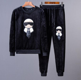 Wholesale Cartoon Characters Suits - 2017 new Cartoon characters embroidery Stars high-end men's brand Sports leisure suit fashion Long sleeve fashion Men's gym outfit M-3XL