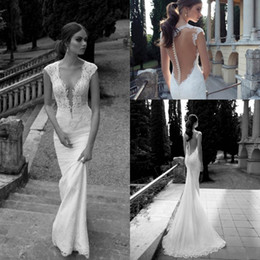 Wholesale Mermaid Dresses Cathedral Train - Berta Bridal 2015 Wedding Dresses Deep V Neck Sheer Back Covered Button Mermaid Court Train Ivory Lace Wedding Gowns
