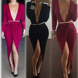 Wholesale Long Dresses For Night Party - Fashion Slit full sleeve deep V sexy night out club party bodycon dresses for women