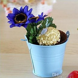 Wholesale White Tin Buckets - New Arrival Wedding Favors Mini Tins Bucket Candy Boxes mini Sweets Pails Baby Shower Gifts Boxes