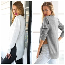 Wholesale Knitted Tunic Dress - Wholesale- HZOIOYS Plus Size Autumn Women Dress Long Sleeve O-Neck Side Slit Knitted Pullover Casual Long Solid women Tunic Sweater