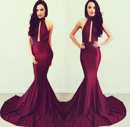 Wholesale Slimming Arabic Dress - Sexy Burgundy High Neck Prom Dresses Sexy Backless Slim Formal Evening Gowns Arabic Court Train Mermaid Vestidos De Noiva Custom Made