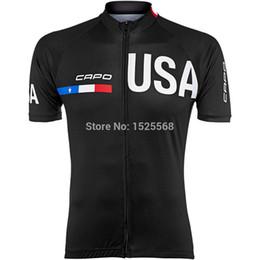 2019 camiseta ciclista orbea rojo Venta al por mayor-2015 Capo Edición limitada de los hombres de EE.UU. Jersey manga corta ciclismo jersey 2015 equipo capo ciclismo camisetas hombres negro