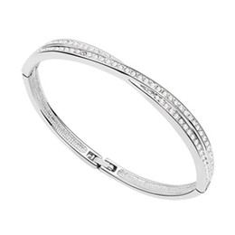 Wholesale Czech Christmas - Bracelet Bangles For Women made with Czech Preciosa Crystals 18K White Gold Filled Trendy Charm Jewelry 6826