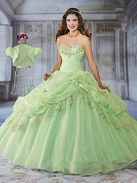 Wholesale Embellished Pageant Gowns - Luxury Ball Gown Quinceanera Dresses 2015 Fashion Sweetheart Pleated Beading Flower Embellished Pageant Gown With Jacket Custom made