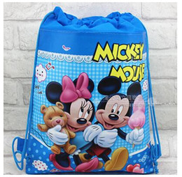 Wholesale Hot Kids Backpacks - Hot! Non-woven string backpack for kids Mickey Minnie Mickey Mouse cartoon double-sided fabric backpacks Children's school cartoon bag 2016