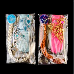 Wholesale Party Wigs Set - Frozen Anna Elsa Headwear 4pcs set Crown Wig Wand Gloves Party Dress Up Princess Elsa Anna Party Accessory New Arrival 1704070