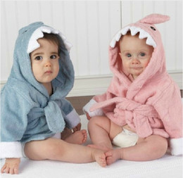 Wholesale Towelling Bathrobe For Kids - Owl shark design towel material cotton hooded robe for Kids bathrobe 4size 4 colors available Free Shipping