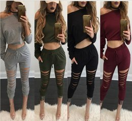 Wholesale Womens Army Green Pants - Winter Two Piece Suit Wine Red Top for Women Hole Off Shoulder Drawstring Sexy Two Piece Set Top and Pants Womens Knit Tracksuit