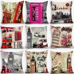 "Wholesale London Decorative Pillow - Wholesale- New Arrival cheap cushions london Print Home Decorative Cushion Throw Pillow 18"" Vintage Cotton Linen Square Pillows MYJ-A3"