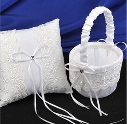 Wholesale Boys Handmade - Lace Pretty Girl Boy Flower Basket For Wedding Handmade Wedding Ceremony Party Favors Supplies Ribbon Lace Girl's Golwer Baskets