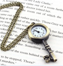 Wholesale Brass Watch Key - Fashion Student Pocket watch Stainless Steel Cute Key Watch Antique Brass Cute Key Pattern Pocket Watch Necklace Rang Pendant for women man