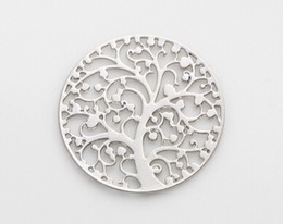 Wholesale Window Tree - 20PCS lot 22MM Silver Plated Round Hollow Family Tree Floating Window Plates Fit For 30mm Magnetic Memory Glass Locket