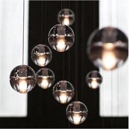 Wholesale Stainless Ceiling Lamp - G4 LED Crystal Glass Ball Pendant Lamp Meteor Rain Ceiling Light Meteoric Shower Stair Light Chandelier Lighting Dimmable