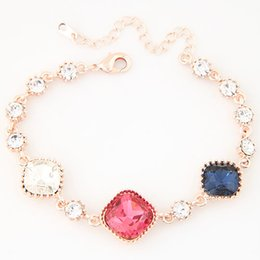 Wholesale Stone Metal Claw - New Korean Fashion Jewelry Metal Personality Shinning Crystal Stone Square Charm Bracelets Female Two Colors Wholesale